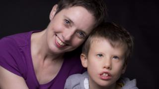 Ceridwen Hughes and her son Isaac