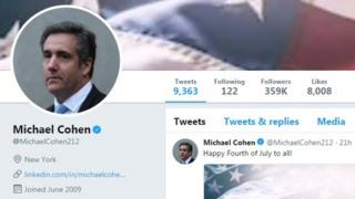 Cohen's Twitter page