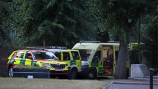 in_pictures Emergency services vehicles outside Forbury Gardens