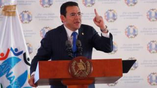Guatemala's President Jimmy Morales attends a meeting with mayors in Guatemala City