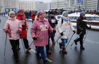 """Women take part in a """"Beauty Run"""" in Minsk, Belarus"""