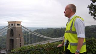 Shaun Phillimore looks out across the Clifton Suspension Bridge