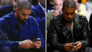 Drake and Kanye West texting - but probably not each other