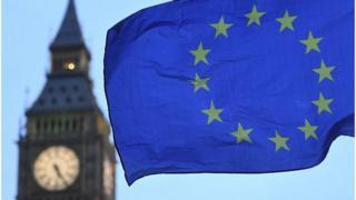 EU flag flying near Houses of Parliament