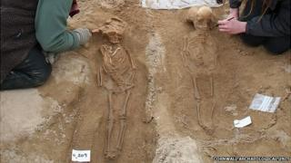 Skeletons being excavated at St Piran's Oratory in Cornwall