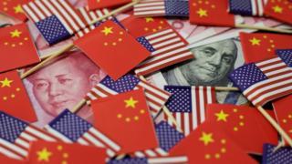 中美國旗與貨幣