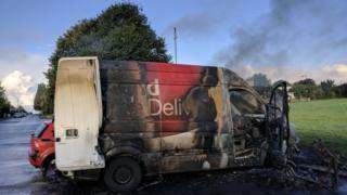 Burnt-out van