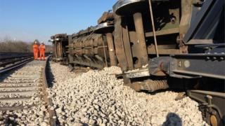derailed freight train