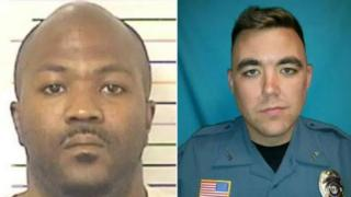 James Waters, left, shot and killed Officer Ryan Morton, right