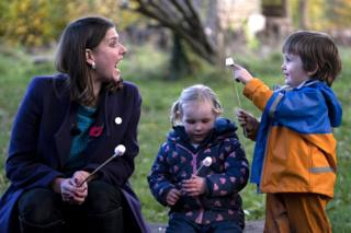 Liberal Democrat Leader Jo Swinson with children during a campaign visit to Free Rangers Forest School Nursery in North Somerset