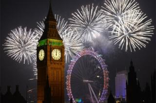 Fireworks over Big Ben and Millennium Wheel on 2015 New Year's Day