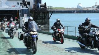 TT fans arrive on the Isle of Man by ferry