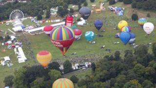 An aerial shot of Thursday morning's mass ascent at this year's Bristol International Balloon Fiesta