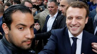 Mr Macron and Mr Benalla (L) pictured together