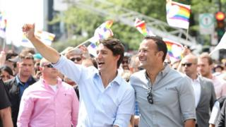 Ireland's Prime Minister Leo Varadkar (r) and Canadian Prime Minister Justin Trudeau taking part in the Pride Parade in Montreal, Canada, on 20 August 2017.