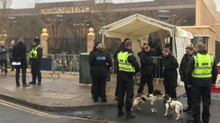 Police outside Cambridge mosque