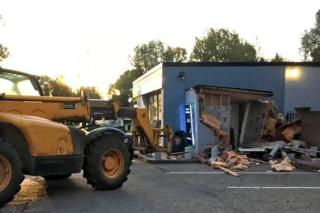 Scene after cash machine was ripped from wall