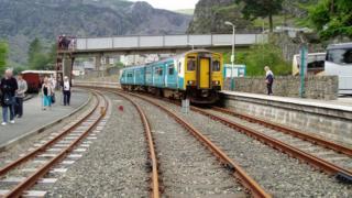 An Arriva Trains Wales train at waiting at Blaenau Ffestiniog Railway Station