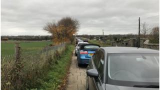 Cars parked on Station Road, Moira