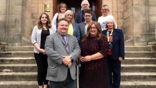 The new SNP administration with Graham Leadbitter and Shona Morrison at the front.