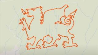 The outline of the Welsh dragon, which was created by Alan Stone and Martyn Driscoll using the Strava app