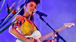 Lianne La Havas performing at the 2015 Glastonbury Festival