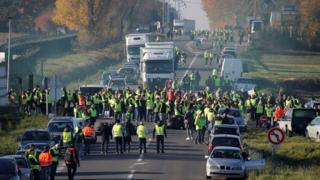 Protesters block a route between Paris and Brussels