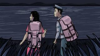 Ilustração: Jeon e Kim no Rio Tumen