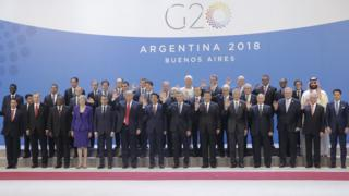"""President of Mexico Enrique Peña Nieto, President of Turkey Recep Tayyip Erdogan, President of South Africa Matamela Cyril Ramaphosa, British Prime Minister Theresa May, President of France Emmanuel Macron, U.S. President Donald Trump, Prime Minister of Japan Shinzo Abe, President of Argentina Mauricio Macri, President of the People""""s Republic of China Xi Jinping, Singapore Prime Minister Lee Hsien Loong, Russian President Vladimir Putin, Prime Minister of Australia Scott Morrison, President of Brazil Michel Temer and Prime Minister of Italy Giuseppe Conte"""