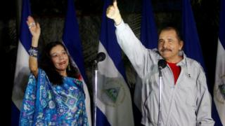 "Daniel Ortega, Nicaragua""s president beside his wife Rosario Murillo in Managua November 6, 2016."