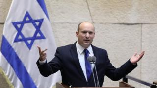 Naftali Bennett speaks in Israel's parliament. Photo: 13 June 2021