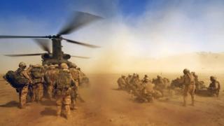 a RAF CH47 Chinook waits in Afghanistan
