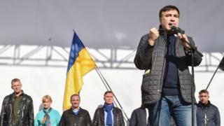 Михайло Саакашвілі під час протестів у Києві