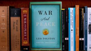 Books by Leo Tolstoy, including 'War and Peace', are among titles featured at City Lights Bookstore in San Francisco, California.