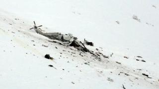 Debris from helicopter crash near L'Aquila, Abruzzo region, on 24 January 2017