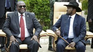 L'ancien premier vice-président Riek Machar et le président Salva Kiir en 2016 (illustration).