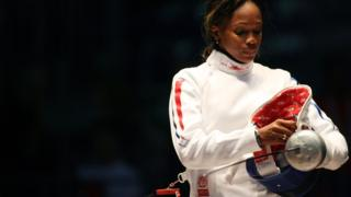 Laura Flessel during the 2006 Fencing World Championships in Turin, Italy