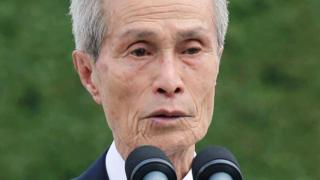 Sumiteru Taniguchi, a survivor of the atomic bombing of Nagasaki in 1945, speaking during a ceremony in Nagasaki in 2015