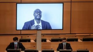 Philonise Floyd speaks by video link to the UN meeting in Geneva - 17 June