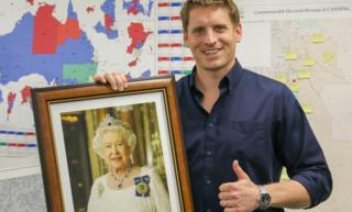 MP Andrew Hastie with his own portrait of the Queen