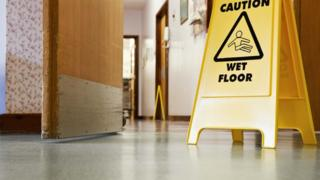 Wet floor sign in hospital