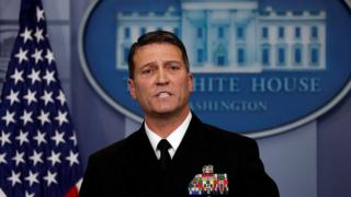 Ronny Jackson answers question about US President Donald Trump's health after the president's annual physical during the daily briefing at the White House in Washington DC, US, 16 January 2018