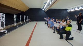 Pupils at the firing range