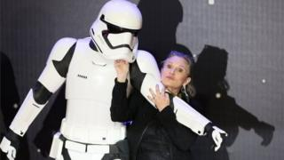 Carrie Fisher arrives at the European premiere of Star Wars: The Force Awakens in London. Photo: 16 December 2015