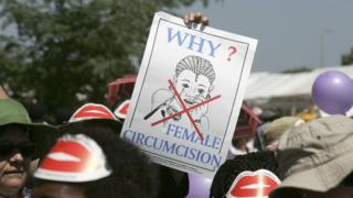 Members of African Gay and Lesbian communities demonstrate against female genital mutilation, 23 January 2007 at the Nairobi World Social Forum venue in Kasarani, Nairobi.