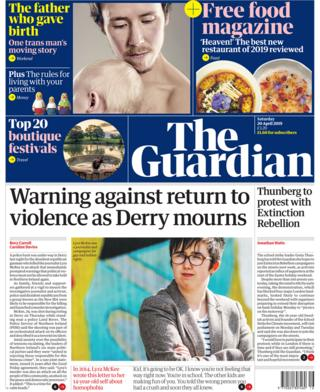 Guardian front page 20/04/19