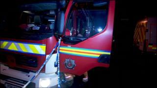 Fire engine at scene of bomb alert