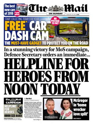 The Mail on Sunday front page 25/02/2018