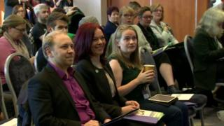 Steven Agnew, Green party leader in Northern Ireland sitting beside deputy leader of the party, Clare Bailey