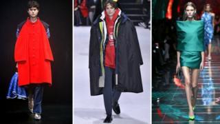 Three models at a Balenciaga fashion show